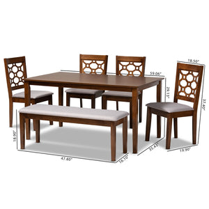 Baxton Studio Gabriel Modern and Contemporary Grey Fabric Upholstered and Walnut Brown Finished Wood 6-Piece Dining Set