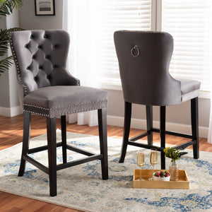 Baxton Studio Howell Modern Transitional Grey Velvet Upholstered and Dark Brown Finished Wood 2-Piece Counter Stool Set