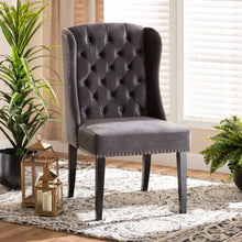 Baxton Studio Lamont Modern Contemporary Transitional Grey Velvet Fabric Upholstered and Dark Brown Finished Wood Wingback Dining Chair
