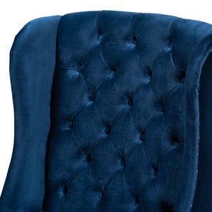 Baxton Studio Lamont Modern Contemporary Transitional Navy Blue Velvet Fabric Upholstered and Dark Brown Finished Wood Wingback Dining Chair