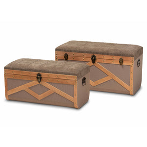 Baxton Studio Kala Modern and Contemporary Transitional Brown Fabric Upholstered and Walnut Finished Wood 2-Piece Storage Ottoman Trunk Set Baxton Studio-Multipurpose Shelving and Cabinets-Minimal And Modern - 1