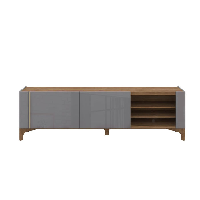 Manhattan Comfort Gowanus 79.92 Modern TV Stand with Media Shelves and Solid Wood Legs in GreyManhattan Comfort-Entertainment Center- - 1