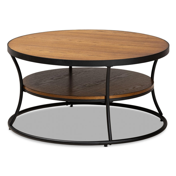 Baxton Studio Albany Vintage Rustic Industrial Walnut Brown Finished Wood and Black Finished Metal 1-Shelf Coffee Table Baxton Studio-Coffee Tables-Minimal And Modern - 1