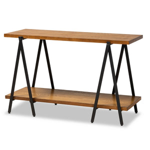 Baxton Studio Britton Rustic Industrial Walnut Finished Wood and Black Finished Metal Console Table Baxton Studio-side tables-Minimal And Modern - 1