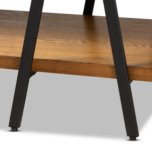 Baxton Studio Britton Rustic Industrial Walnut Finished Wood and Black Finished Metal Console Table