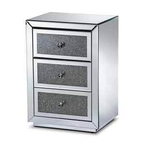 Baxton Studio Talan Contemporary Glam and Luxe Mirrored 3-Drawer Nightstand Baxton Studio-nightstands-Minimal And Modern - 1