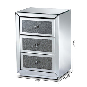 Baxton Studio Talan Contemporary Glam and Luxe Mirrored 3-Drawer Nightstand