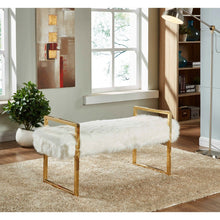 Meridian Furniture Chloe White Faux Fur Bench