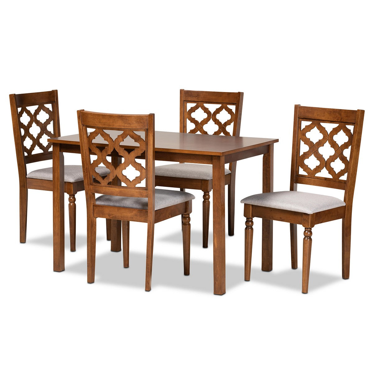 Baxton Studio Ramiro Modern and Contemporary Grey Fabric Upholstered and Walnut Brown Finished Wood 5-Piece Dining Set Baxton Studio-Dining Sets-Minimal And Modern - 1