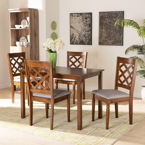 Baxton Studio Ramiro Modern and Contemporary Grey Fabric Upholstered and Walnut Brown Finished Wood 5-Piece Dining Set