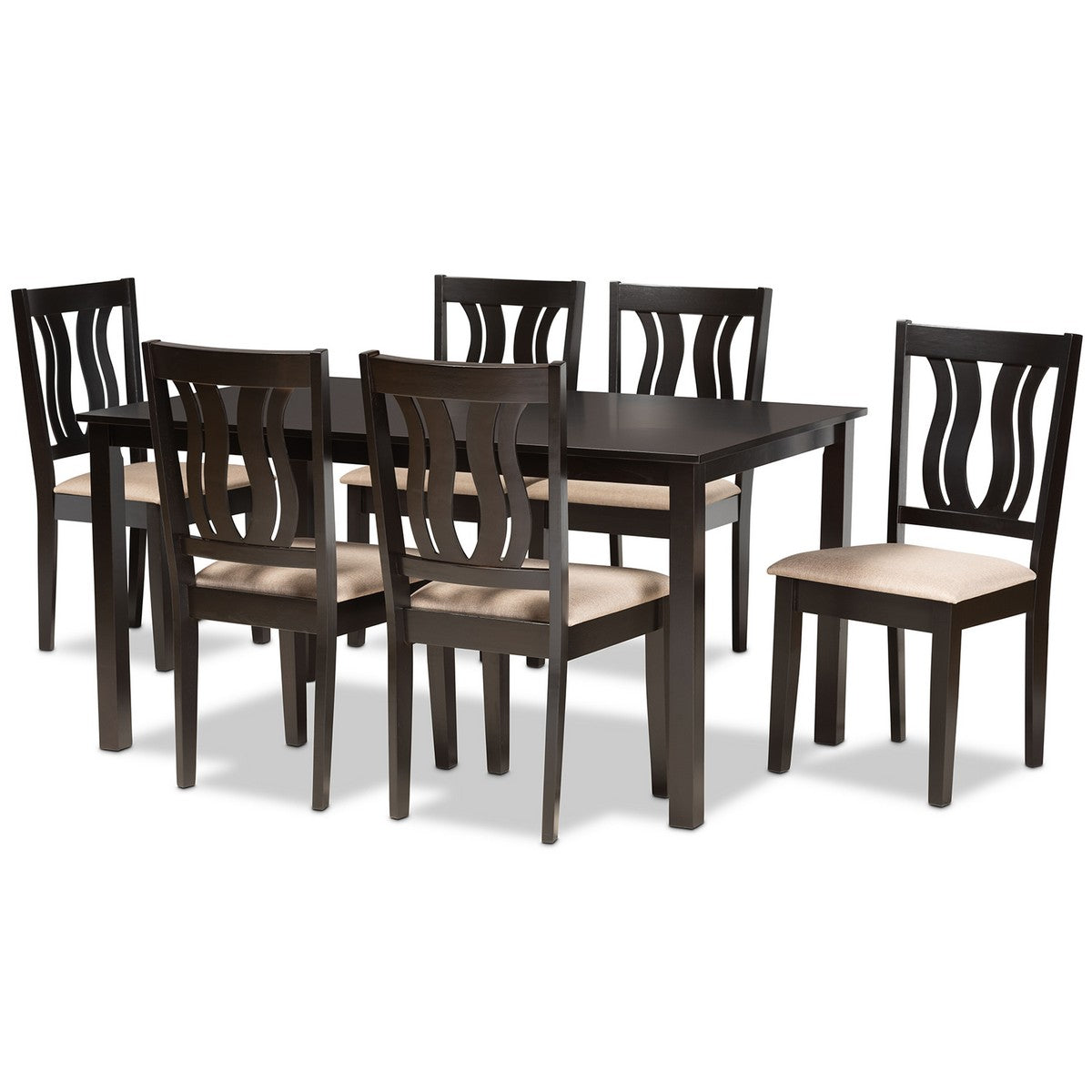 Baxton Studio Fenton Modern and Contemporary Sand Fabric Upholstered and Dark Brown Finished Wood 7-Piece Dining Set Baxton Studio-Dining Sets-Minimal And Modern - 1