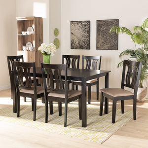 Baxton Studio Fenton Modern and Contemporary Sand Fabric Upholstered and Dark Brown Finished Wood 7-Piece Dining Set