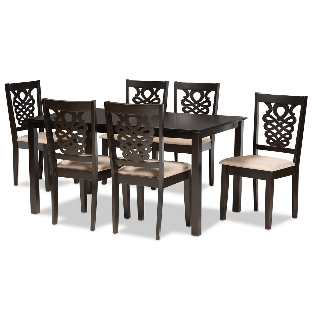 Baxton Studio Gervais Modern and Contemporary Sand Fabric Upholstered and Dark Brown Finished Wood 7-Piece Dining Set Baxton Studio-Dining Sets-Minimal And Modern - 1