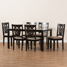 Baxton Studio Gervais Modern and Contemporary Sand Fabric Upholstered and Dark Brown Finished Wood 7-Piece Dining Set
