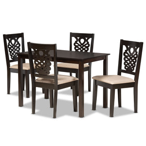 Baxton Studio Gervais Modern and Contemporary Sand Fabric Upholstered and Dark Brown Finished Wood 5-Piece Dining Set Baxton Studio-Dining Sets-Minimal And Modern - 1
