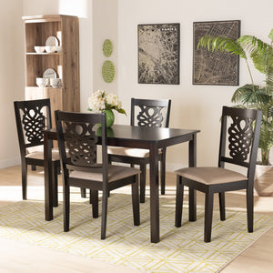 Baxton Studio Gervais Modern and Contemporary Sand Fabric Upholstered and Dark Brown Finished Wood 5-Piece Dining Set