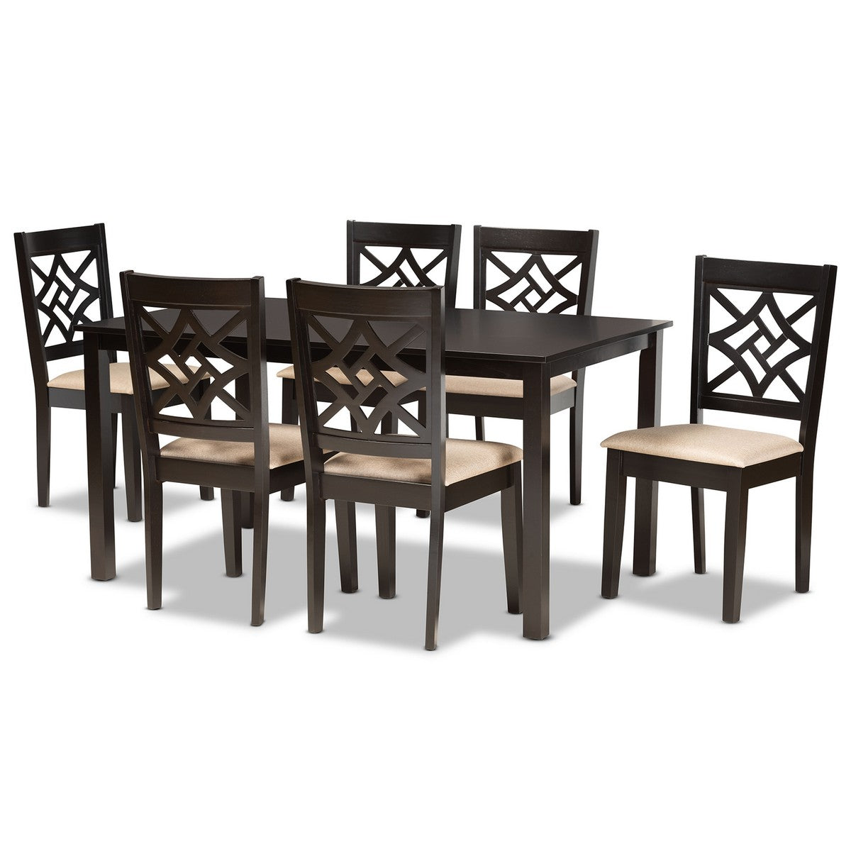 Baxton Studio Nicolette Modern and Contemporary Sand Fabric Upholstered and Dark Brown Finished Wood 7-Piece Dining Set Baxton Studio-Dining Sets-Minimal And Modern - 1