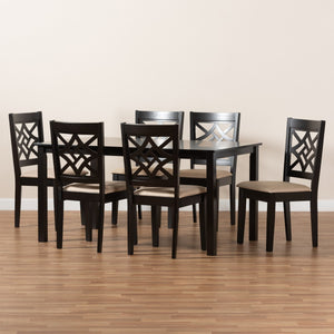 Baxton Studio Nicolette Modern and Contemporary Sand Fabric Upholstered and Dark Brown Finished Wood 7-Piece Dining Set