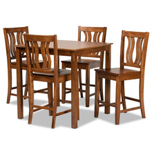 Baxton Studio Fenton Modern and Contemporary Transitional Walnut Brown Finished Wood 5-Piece Pub Set Baxton Studio-Pub Sets-Minimal And Modern - 1