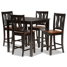 Baxton Studio Fenton Modern and Contemporary Transitional Two-Tone Dark Brown and Walnut Brown Finished Wood 5-Piece Pub Set Baxton Studio-Pub Sets-Minimal And Modern - 1