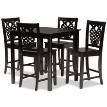 Baxton Studio Gervais Modern and Contemporary Transitional Dark Brown Finished Wood 5-Piece Pub Set Baxton Studio-Pub Sets-Minimal And Modern - 1