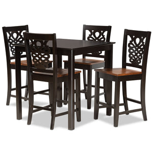 Baxton Studio Gervais Modern and Contemporary Transitional Two-Tone Dark Brown and Walnut Brown Finished Wood 5-Piece Pub Set Baxton Studio-Pub Sets-Minimal And Modern - 1