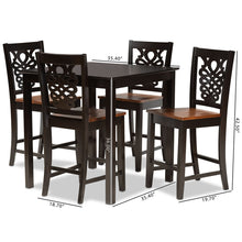 Baxton Studio Gervais Modern and Contemporary Transitional Two-Tone Dark Brown and Walnut Brown Finished Wood 5-Piece Pub Set