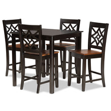 Baxton Studio Nicolette Modern and Contemporary Two-Tone Dark Brown and Walnut Brown Finished Wood 5-Piece Pub Set Baxton Studio-Pub Sets-Minimal And Modern - 1