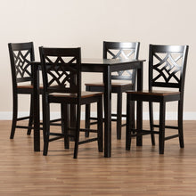 Baxton Studio Nicolette Modern and Contemporary Two-Tone Dark Brown and Walnut Brown Finished Wood 5-Piece Pub Set