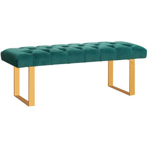 Meridian Furniture Ethan Green Velvet Bench-Minimal & Modern