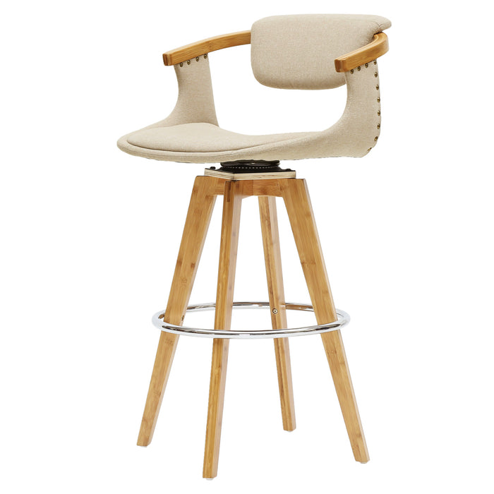 Darwin Fabric Swivel Bamboo Bar Stool by New Pacific Direct - 1160002