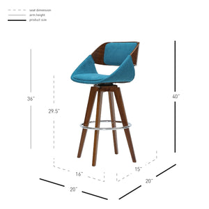 Cyprus Swivel Fabric Bar Stool by New Pacific Direct - 1160004