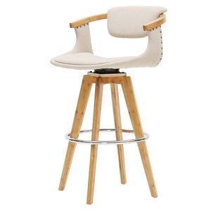 Darwin Fabric Bamboo Counter Stool by New Pacific Direct - 1160006