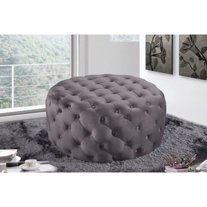 Meridian Furniture Addison Grey Velvet Ottoman/Bench-Minimal & Modern