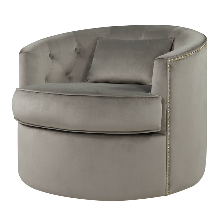 Marjorie Velvet Nailhead Tufted Swivel Accent Chair by New Pacific Direct - 1250003