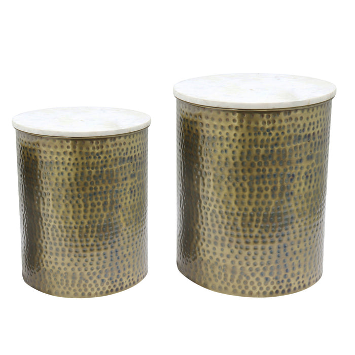 Kent Marble Side Table Set of 2 by New Pacific Direct - 1260005