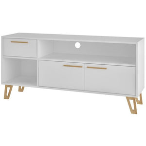 "Manhattan Comfort  Doris 53.14"" Mid Century Modern TV Stand with 1- Drawer in White Manhattan Comfort-Entertainment Center- - 1"