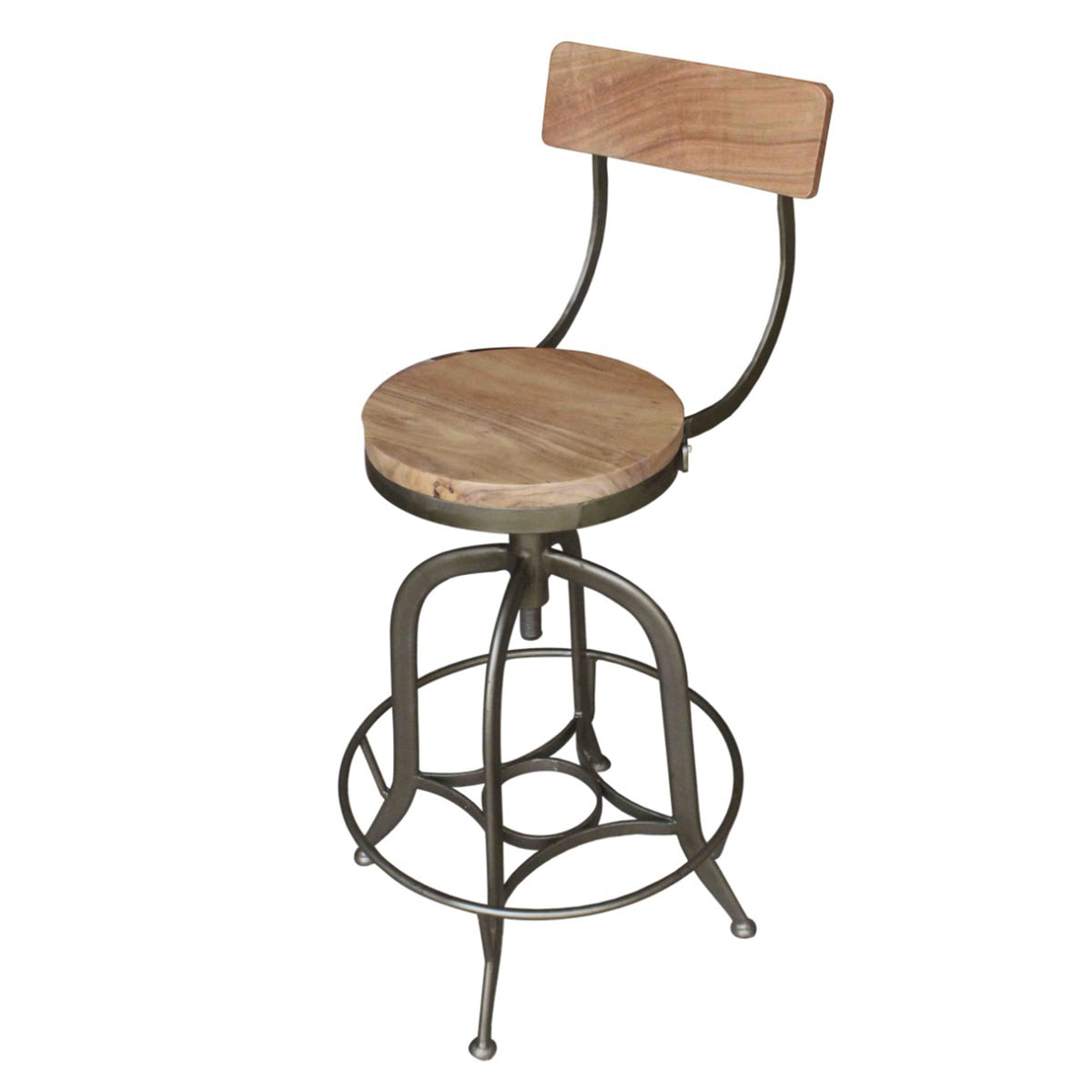 Bale Industrial Full Back Vintage Stool by New Pacific Direct - 1280016