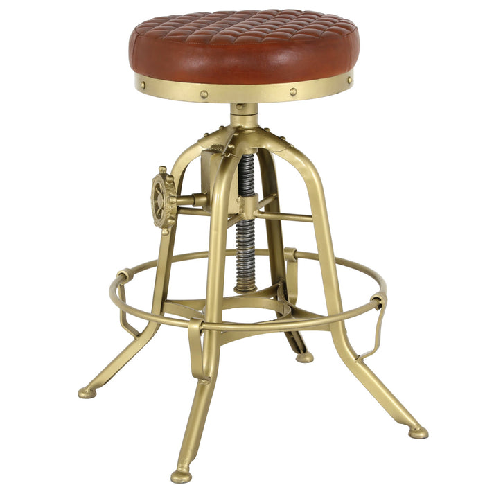 Reid Leather Industrial Backless Vintage Stool by New Pacific Direct - 1290010
