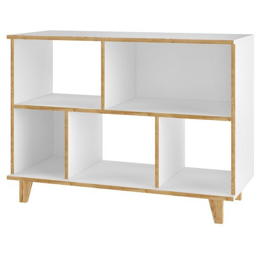 Manhattan Comfort  Minetta 5-Shelf Mid Century Low Bookcase in White Manhattan Comfort-Bookcases- - 1
