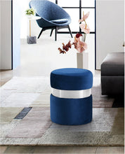 Meridian Furniture Hailey Navy Velvet Ottoman/Stool