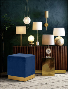 Meridian Furniture Jax Navy Velvet Ottoman/Stool