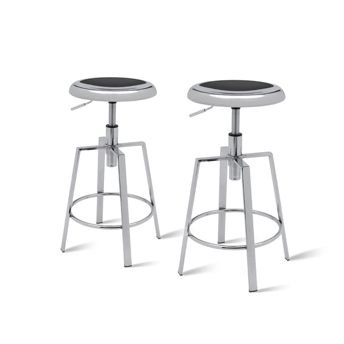 Flint Metal Swivel Backless Stool - Set of 2 by New Pacific Direct - 1350001-CH