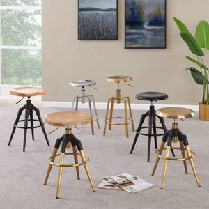 Elton Metal Swivel Backless Stool - Set of 2 by New Pacific Direct - 1350002-G