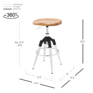 Elton Wood Top Metal Swivel Backless Stool - Set of 2 by New Pacific Direct - 1350003-CH