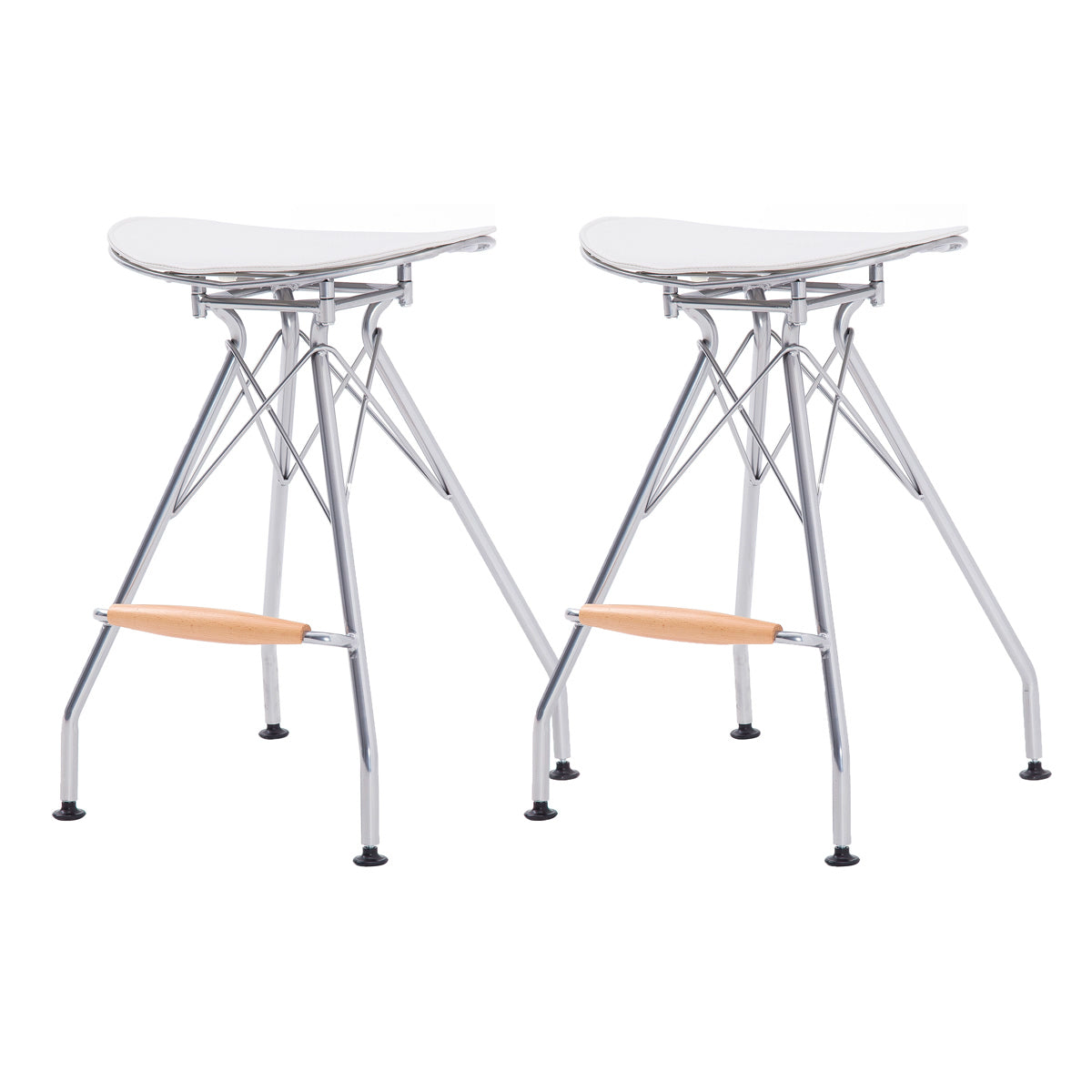Yara Metal Counter Stool North White Cushion - Set of 2 by New Pacific Direct - 1360003-511