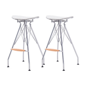 Yara Metal Bar Stool North White Cushion - Set of 2 by New Pacific Direct - 1360004-511