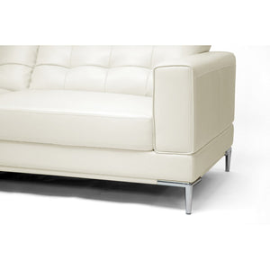 Baxton Studio Babbitt Ivory Leather Modern Sectional Sofa Baxton Studio-sectionals-Minimal And Modern - 3