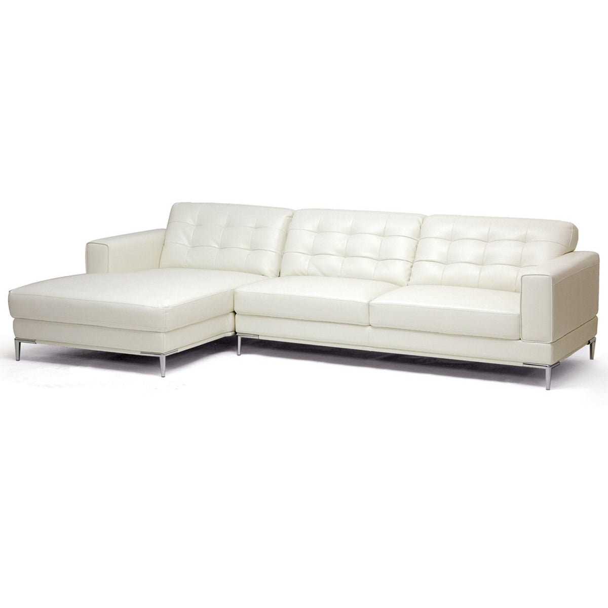 Baxton Studio Babbitt Ivory Leather Modern Sectional Sofa Baxton Studio-sectionals-Minimal And Modern - 1