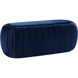 Meridian Furniture Delilah Navy Velvet Ottoman/BenchMeridian Furniture - Ottoman/Bench - Minimal And Modern - 1